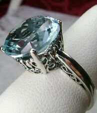 5ct *Blue Aquamarine*Gem Solid Sterling Silver Filigree Ring (MTO/New) size Any