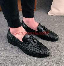 Mens British leather slip on woven loafer tassel dress formal Oxfords shoes new