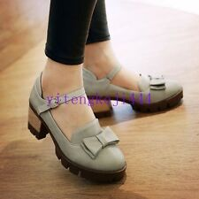 Retro Womens Bowknot Chunky Mid Heel Mary Jane Ankle Strap Pumps Lady Shoes New