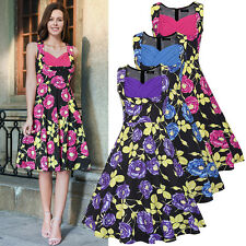 Ruiyige Rose Floral 50s Style Vintage Swing Pinup Housewife Party Dress TOP Plus