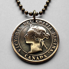 Canada 1 cent coin pendant Canadian necklace Quebec Queen Victoria n001053b