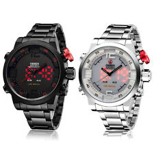 OHSEN Analog Digital Black Silver Stainless Steel Luxury Red LED Backlight Watch