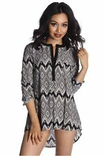 DEALZONE Printed Button Front Pocket Top S Small Women Black Evening, Occasion
