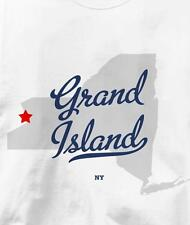 Grand Island, New York NY MAP Souvenir T Shirt All Sizes & Colors