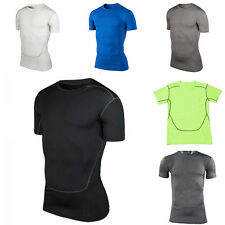 Mens Sports Under Compression Baselayer Short Sleeve T-Shirt Athletic Tops Tank