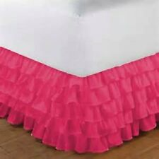 1 Qty Multi Ruffle Bed Skirt Egyptian Cotton Hot Pink Solid 1000 TC Drop 8-30''