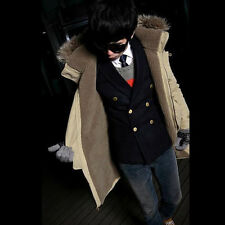 Fashion New Men's Winter Zipper Trench Coat Long Hooded Jacket Overcoat Warm G