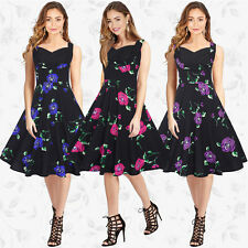 50s Rockabilly Vintage Rose Floral Flared Swing Skater Dress Little Black Dress