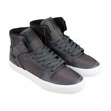 Supra Vaider Mens Grey Textile High Top Lace Up Sneakers Shoes