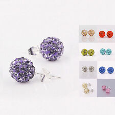 Fashion 925 Sterling Silver Disco Inlay Crystal Ball Stud Post Earrings ZXJH200