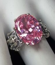 5ct Oval Pink Gem Solid Sterling Silver Angel Gothic Cross Filigree Ring {(MTO)}