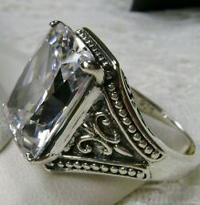 10ct White Gem Solid Sterling Silver Gothic Filigree Ring Size {Made To Order}