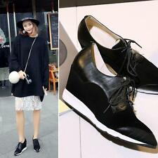 New Womens Shoes Lace Up Wedge Fashion Leather Sneakers Ankle Boots Sport New YT