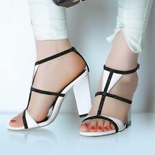 Womens Strappy Gladiator Rhinestone Real Leather Sandals Party Pumps Shoes New Y