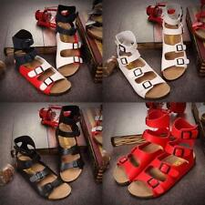 Roman Womens Beach Summer Sandal Gladiator Cut Out US Size flat buckle shoes