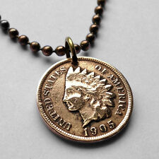 antique! USA Indian Head One Cent coin pendant NATIVE AMERICAN penny n000807b