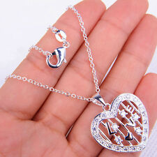 New Fashion 925 Sterling Silver Heart Pendant + Chain Necklace Jewelry H862