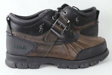 POLO Ralph Lauren Dover III Buckle Ankle Leather Boots Brown Black NWT