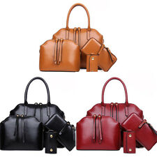 Women Fashion Handbag PU Leather Messenger Shoulder Noble Tote Bag Purse 4pcs