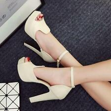 Womens Elegant High stiletto Heels Ankle Strap Peep Toe sandal Platform Shoes