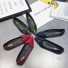 Women Casual Pointed Toe Pumps Flats Ladies Party Patent Leather Shoes Fashion