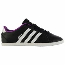 adidas Coneo Leather Trainers Womens Black/White/Silver Sneakers Shoes Footwear