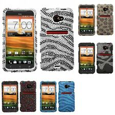 For HTC EVO 4G LTE Diamond Diamante Bling Rhinestone Case Cover
