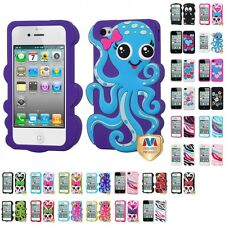 For Apple iPhone 4/4S Silicone Design Skin Soft Phone Case Cover