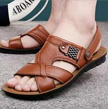 Men leather Casual Sand Beach Summer Flat Open-toed Sports Slipper Sandals New Y