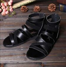 Roman Mens strappy Open Toe Casual Flats Sport Sandals Fishermen leather Shoes