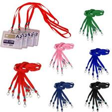 10Pcs Lanyard ID Card Cases Badge Holder / Neck Strap String Cord w/ Metal Clasp