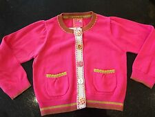 Bnwt Next Gorgeous Pink Cotton Knit Cardigan Feature Buttons Fab! 3-4 yrs
