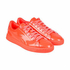 Puma Basket Classic Patent Emboss Mens Red Leather Lace Up Sneakers Shoes