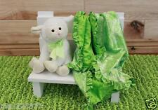 NEW minky Nursery Baby receiving Blanket Satin Ruffle Easter green paysley 30""