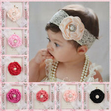 Kids Baby Girl Headwear Toddler Lace Pearl Flower Headband Hair Band HeadwearMOA