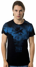 T-shirt Cavalli White Men Man T-shirt black blue c44 crew neck Safari