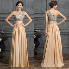 Bridesmaid Wedding Party One Shoulder Evening Gown Formal Cocktail Long Dress.