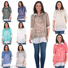 New Womens 3 Piece Feathered Lace Scarf T-Shirt Blouse Summer Party Top One Size