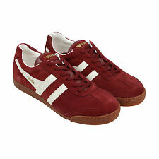 Gola Harrier Suede Mens Burgundy Suede Lace Up Trainers Shoes