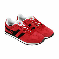 Gola Boston Mens Red Suede Lace Up Trainers Shoes