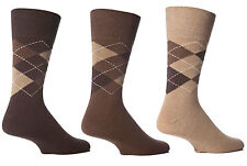 Mens Brown Argyle Gentle Grip Sock By Sock Shop Honeycombe Loose Top 6pk 6-11