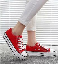 Womens Canvas Classic College Sneakers Platform Low Top Lace-Up Creeper Shoes YT