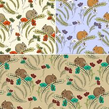 Tiny Fieldmice Eating Wheat Flowers 100% Cotton Patchwork Fabric (Inprint)