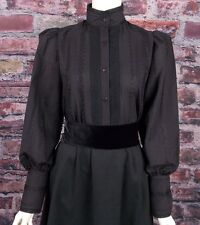 FRONTIER CLASSICS Victorian Eyelet Embroidery Black Sue Blouse Steampunk Dicken