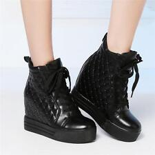 Chic Womens Shoes Spike Studded Cow Leather Wedge Sneakers High Heels Boots @@#@