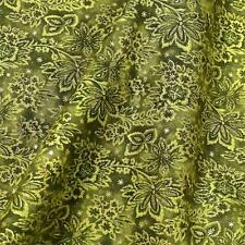 Lovely Metallic Gold & Green Floral Cotton Fabric FabriQuilt