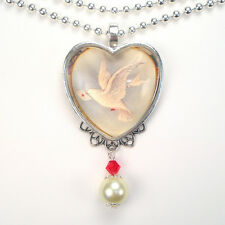 WHITE DOVE BIRD PEACE LOVE LETTER HEART VINTAGE CHARM SILVER OR BRONZE NECKLACE