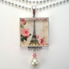 PARIS FRANCE EIFFEL TOWER VINTAGE CHARM FRENCH SILVER OR BRONZE PENDANT NECKLACE