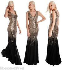 Goddiva Black Gold Sequin Chiffon Insert Long Maxi Evening Dress Prom Party Ball