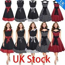 50'S 60'S ROCKABILLY DRESS Vintage Polka Style Swing Pinup Housewife Party Dress